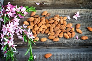 Spring rustic background with flowers and almond nuts