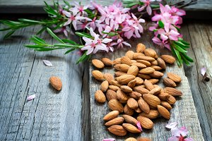 Spring background with flowers and almond nuts