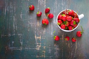 cup of ripe garden strawberries