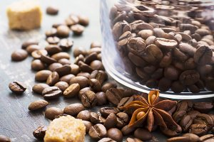 Coffee beans on old vintage background