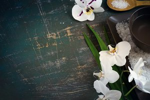 SPA setting with blooming white orchids and sea salt. Space for