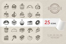 Cakes and dessert icons set. Vector