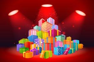 Big mountain of presents