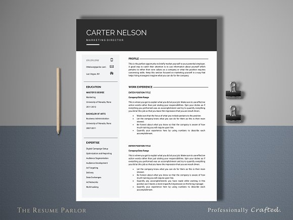 Resume Template 4 Page Director