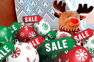 8 Christmas Balls SALE Label