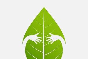 Eco friendly. isolate hand hug
