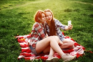Hipster Girls Having Fun