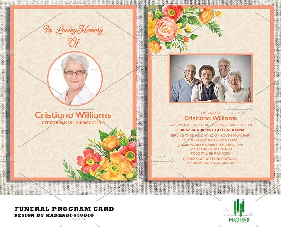 funeral announcement or invitation invitation templates creative market. Black Bedroom Furniture Sets. Home Design Ideas