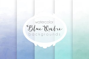 Blue ombre watercolor backgrounds