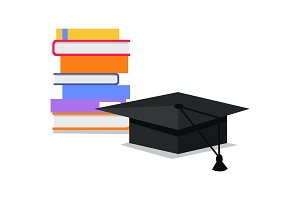 Books and Square Academic Cap