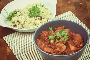 Curry of butternut with couscous