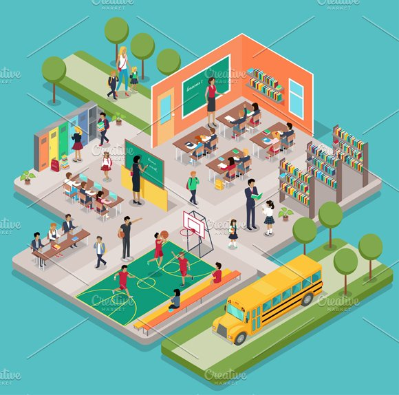Ultra Cool Fun Creative Interior Design: Isometric School Interior