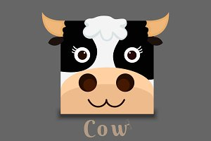 flat image of an cow face