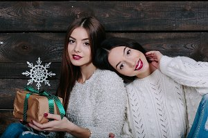 portrait of two beautiful girls at Christmas