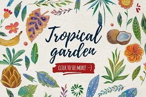 Tropical garden Watercolor set