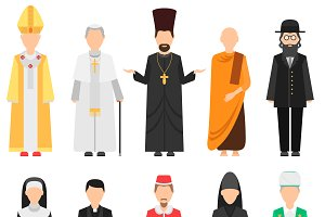 Religion people vector set