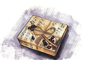 marker sketch. gift box. png