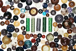 Detail of old buttons and thread