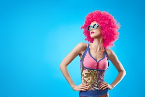 Fashion Model woman, colorful Glamor Party Outfit