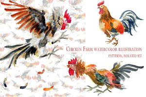 Chicken Farm watercolor illustration
