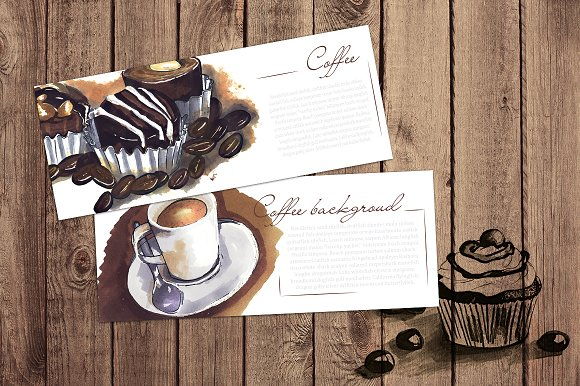 2 cards. coffee sketches