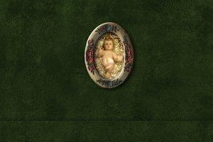 Baby Jesus, religious card.Copyspace