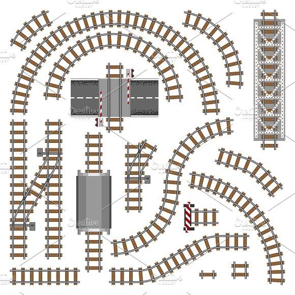 Vector railway gray parts in Illustrations