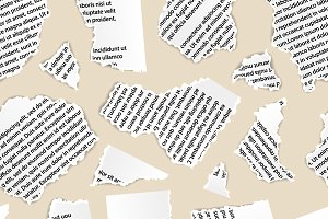 Torn paper pieces of text document