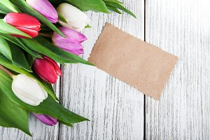 Tulip bouquet and blank  card