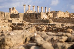 Ancient ruins at Paphos Archaeological Park. Cyprus. Shallow depth of field.