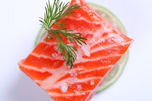 Raw fresh red salmon