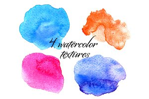 4 watercolor textures in 1 file JPEG