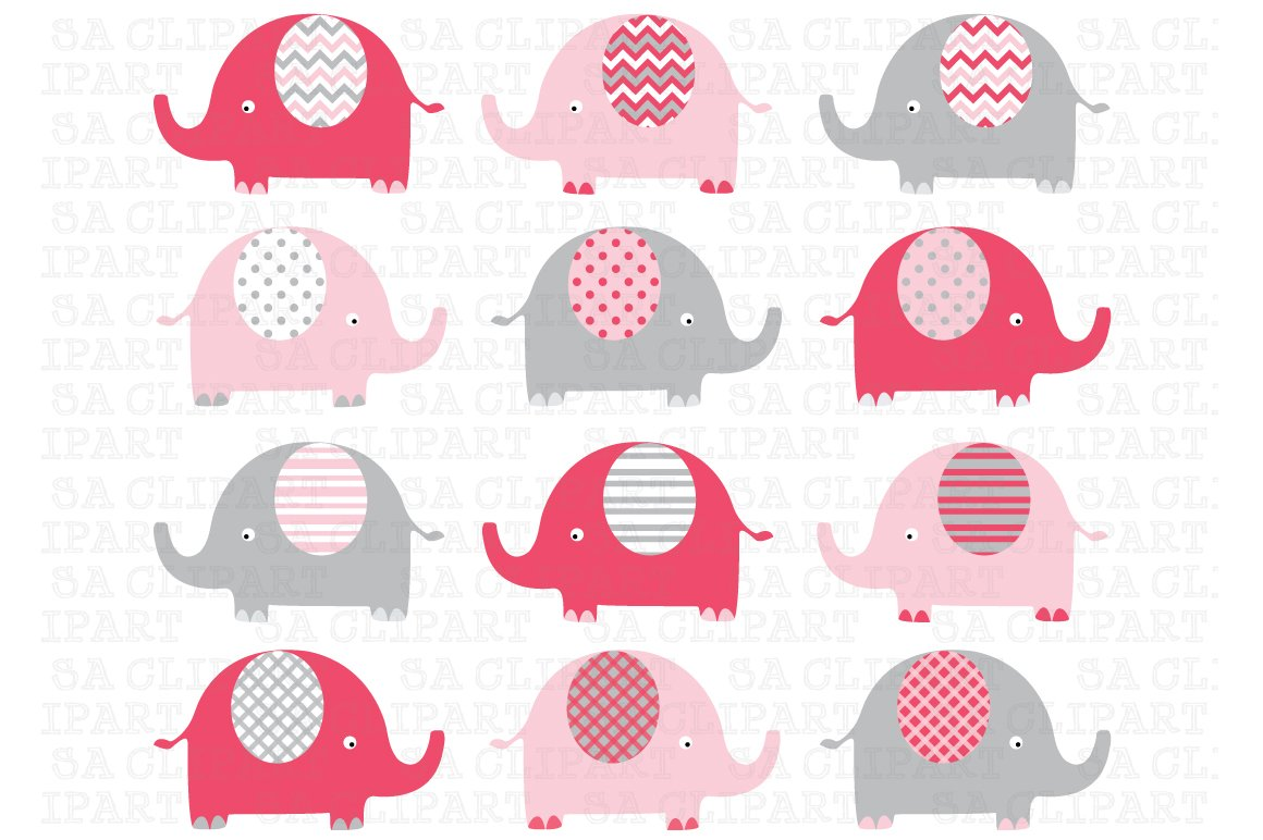 Girly Pink Grey Elephant ClipArt ~ Illustrations ...