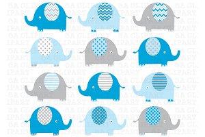 Blue Grey Elephant ClipArt