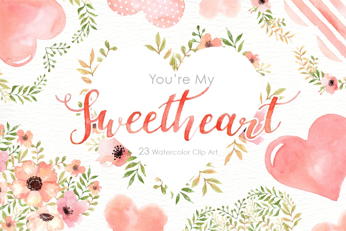 my sweetheart watercolor clipart illustrations creative market