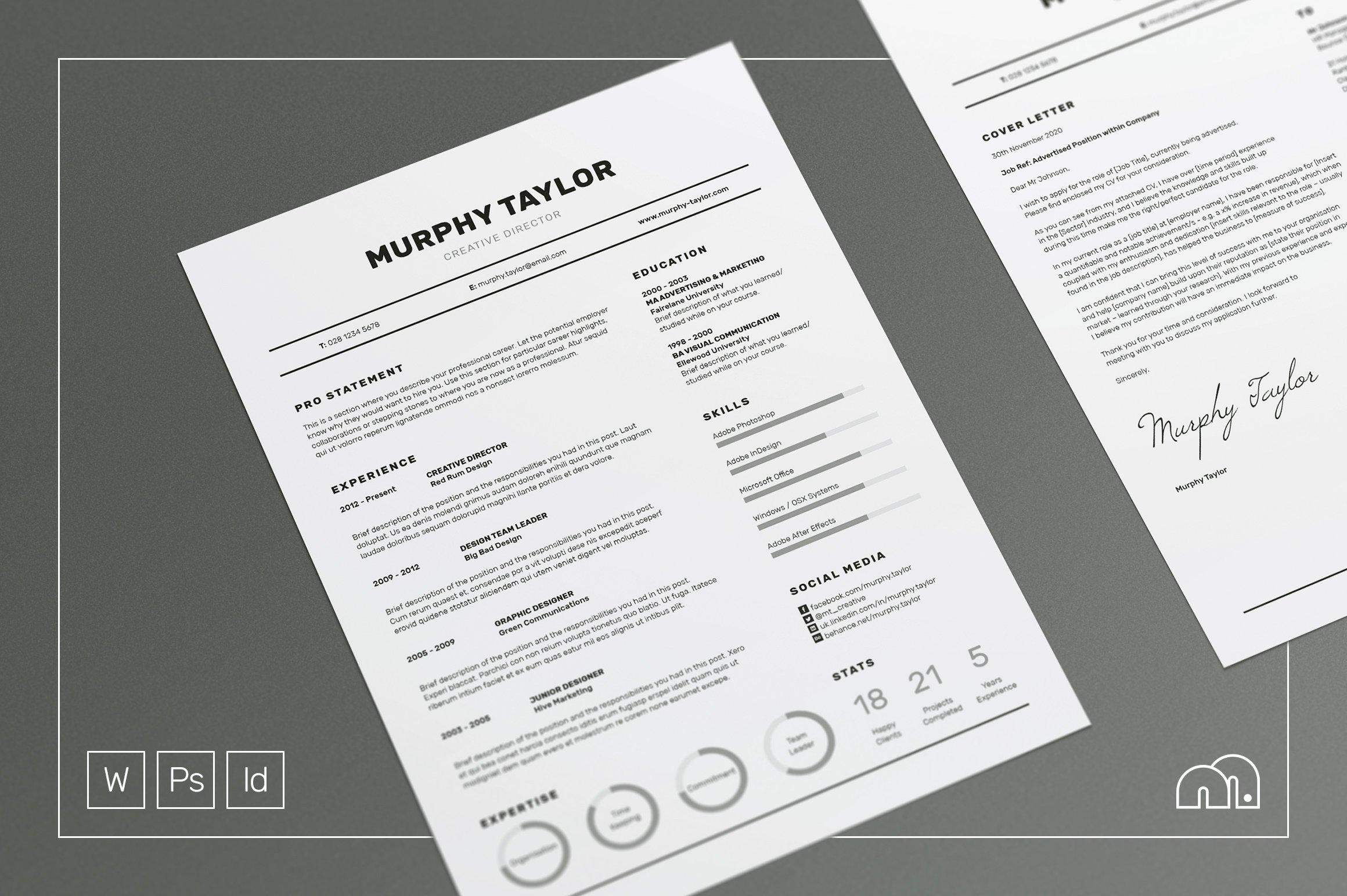 Resume/CV - Murphy ~ Resume Templates ~ Creative Market