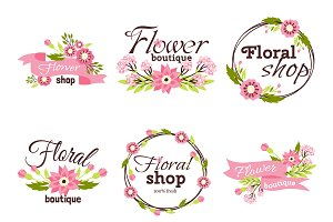 Bright logo for flower shop vector