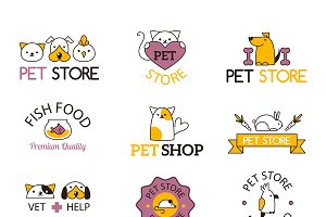 Logo for pet shop vector set