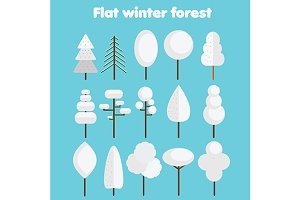 FWinter forest icons vector