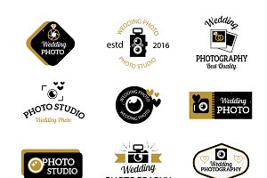 Photo studio logo vector set