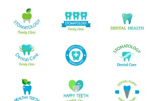 Dentist logo implants vector set