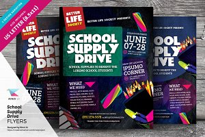 School Supply Drive Flyer Templates