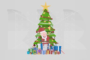3d illustration. Santa and Xmas Tree