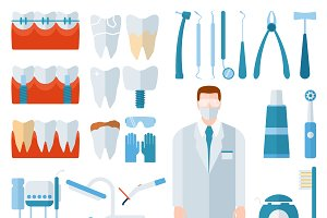 Flat health care dentist symbols