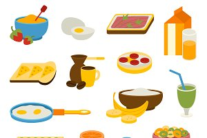 Healthy breakfast vector set