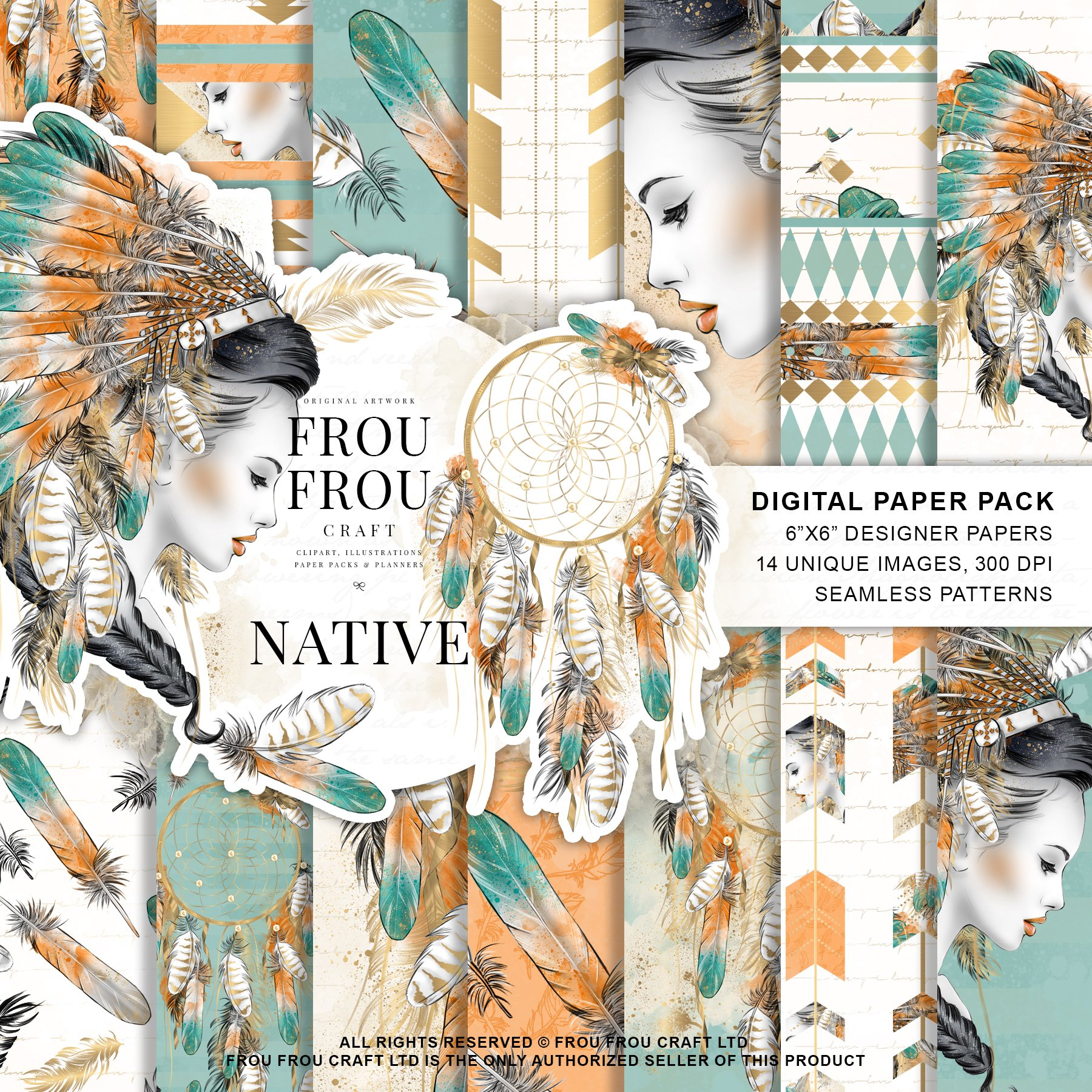 Tribal Girl Paper Pack Graphic Patterns Creative Market