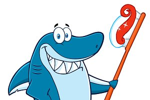 Blue Shark Holding A Toothbrush
