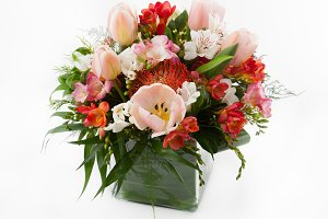 Floral arrangement with tulips