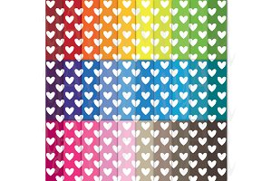 30 Rainbow Heart Shape Digital Paper