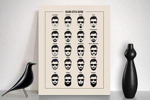 Beard style guide vector set